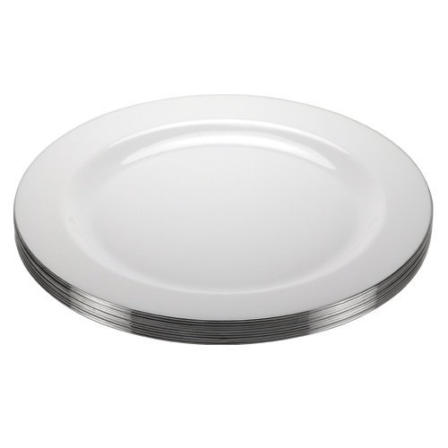 Premium Quality Heavyweight Plastic Plates China Like. Wedding and Party Dinnerware PlasticPlates 9 inch, White\Pearl with Silver Edge , 10-Count