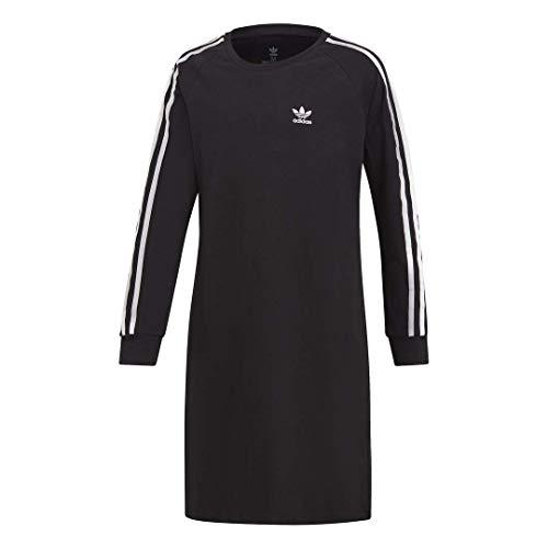 adidas Originals Girls' Big 3-Stripes Dress, black/white, Medium