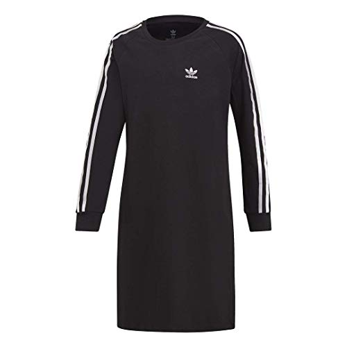 adidas Originals Girls' Big 3-Stripes Dress, Black/White, Large