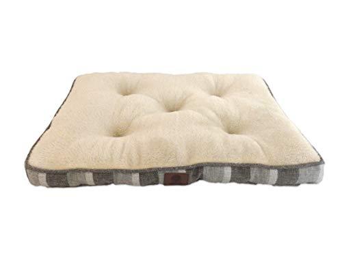 (American Kennel Club AKC Medium Stripe Burlap Crate Dog Pet Bed, Gray, 30 inch by 22 inch, Grey)