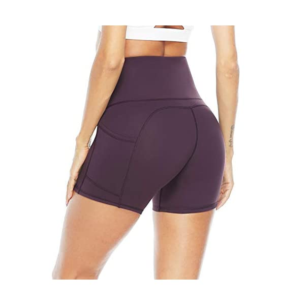 Whear Womens High Waist Workout Yoga Shorts Leggings with 2 Pockets,Non See-Through Tummy Control Athletic Shorts