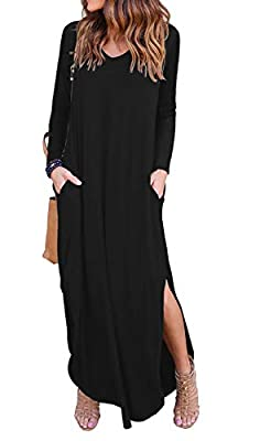 GRECERELLE Women's Casual Loose Pocket Long Dress Long Sleeve Split Maxi Dresses