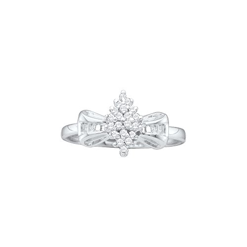 Jewels By Lux 10kt White Gold Womens Round Prong-set Diamond Oval Cluster Baguette Ring 1/10 Cttw (I2-I3 clarity; J-K color) - Oval Cluster Ring