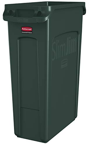 Rubbermaid Commercial Products Slim Jim Plastic Rectangular Trash/Garbage Can with Venting Channels, 23 Gallon, Green (1956186)