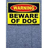 VINBOX WARNING - BEWARE OF DOG SIGN 8'',x12'', NEW with Stake Security Surveillance yellow