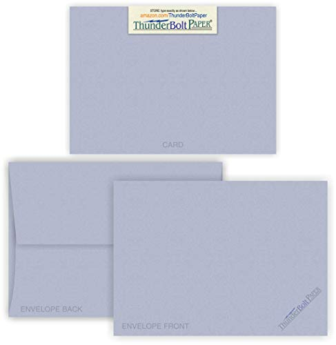 5X7 Blank Cards with A-7 Envelopes - Blue Violet Fiber - 15 Sets - Matching Pack - Invitations, Greeting, Thank Yous, Notes, Holidays, Weddings, Birthdays, Announcements - 80# Cardstock