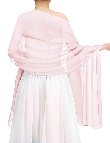 Bbonlinedress Women's Soft Chiffon Shawls for Evening Dresses Fashion Scarves Wraps for Bridal Wedding Party Pink ()