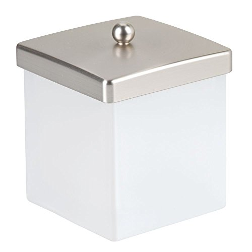 interDesign Casilla Makeup and Cosmetic Storage Canister Container with Lid for Bathroom Vanity Or Countertop Brushed Nickel, Frost