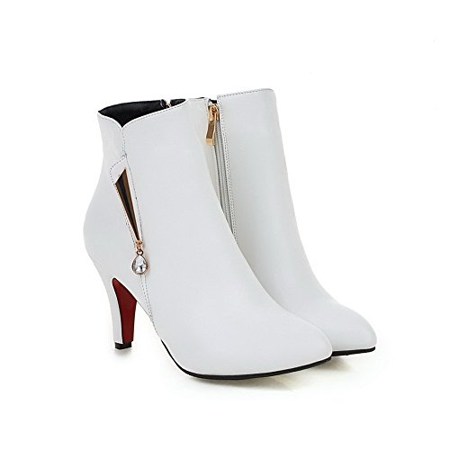 AgooLar Women's High Heels Solid Pointed Closed Toe Zipper Boots White aAaer7mSD