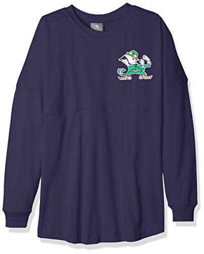 NCAA Notre Dame Fighting Irish Womens NCAA Women's Long Sleeve Mascot Style Teeknights Apparel NCAA Women's Long Sleeve Mascot Style Tee, Sports Navy, Medium