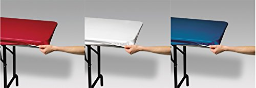 Stay Put Rectangular Plastic Table Covers, 29 in x 72 in (6 Feet) - Red, White, Blue]()
