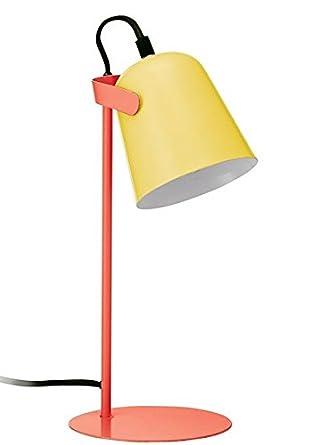 FISURA LT0746 Lampara Mesa Led Chloe Amarillo y Naranja Multicolor 37cm Escritorio Estilo Retro Colores Mate Diseño Sobremesa