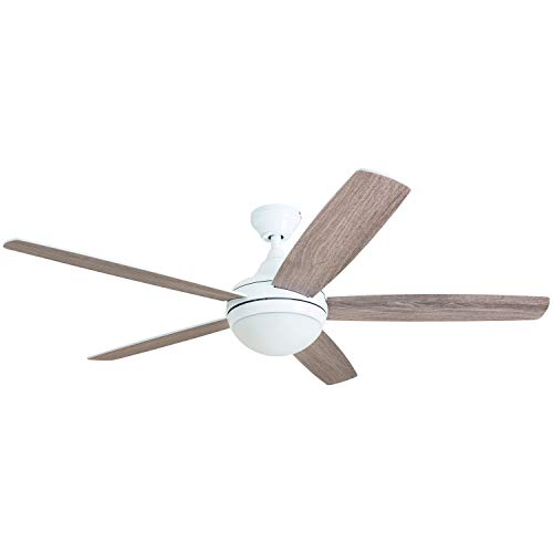 Prominence Home 80094-01 Ashby Ceiling Fan with Remote Control and Dimmable Integrated LED Light Frosted Fixture, 52 Contemporary Indoor, 5 Blades White/Grey Oak, Farmhouse White