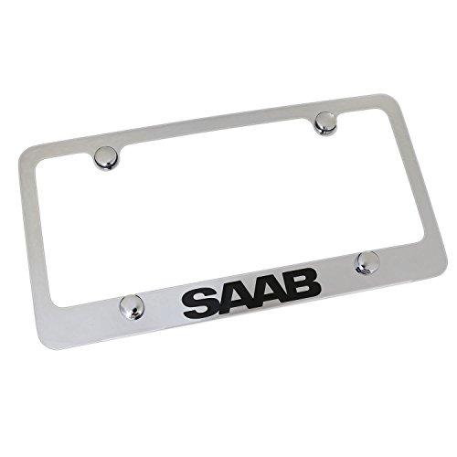 SAAB Notched 4-Hole Chrome Brass License Plate Frame