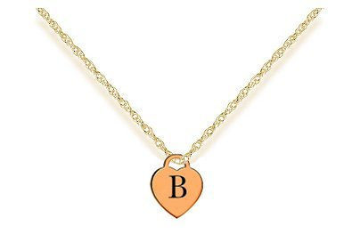 letter b gold heart charm w 16 gold chain necklace premium laser engraved