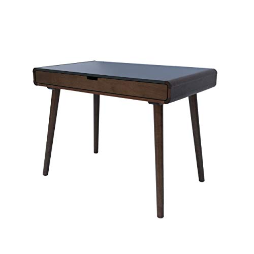 Christopher Knight Home Peninah Mid-Century Rubberwood Writing Desk, Charcoal Grey / Medium Brown
