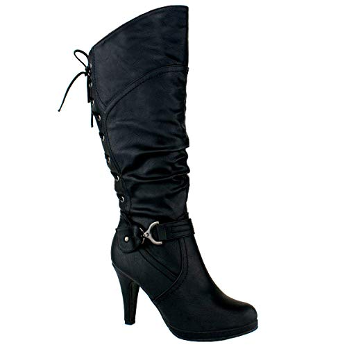 Top Moda PAGE-65 Women's Knee High Round Toe Lace-up Slouched High Heel Boots, Black Size ()