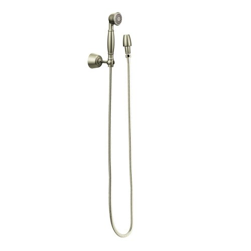 (Moen 3861BN Single Function Hand Shower with Wall Bracket and Hose, Brushed Nickel)
