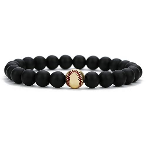 Beaded Gold Tone Bracelet - Linsoir beads Trendy Baseball Bracelet Lava Stone/White Howlite/Matte Black Stone Beaded Bracelet Sports Jewelry for Boy Gift Jewelry 1 pc