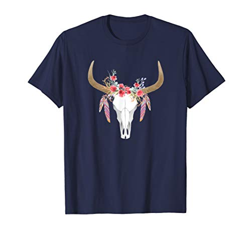 Floral Cow Skull with Feathers T Shirt - Bull Skull Shirt