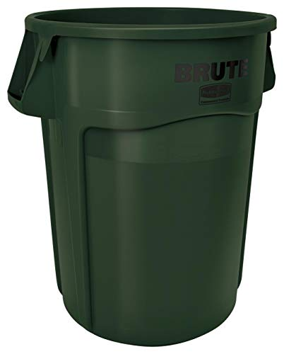 Rubbermaid Commercial Products FG265500DGRN BRUTE Heavy-Duty Round Trash/Garbage Can, 55-Gallon, Green