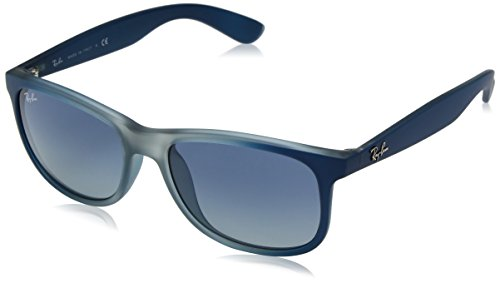 Ray-Ban RB4202 Andy Rectangular Sunglasses, Blue on Rubber Light Grey/Blue Gradient, 55 ()