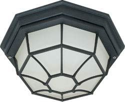 Replacement for 60/3452 1 Light 12 INCH Ceiling Spider CAGE Fixture DIE CAST Glass Lens Color Retail Packaging Textured Black