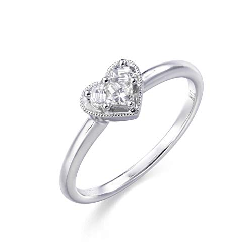 18K White Gold Heart Shaped 0.167 Carat (GH Color, VS Clarity) Diamond Engagement Ring (6, 0.167)