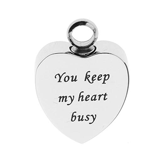 (Stainless Steel Cremation Urn Pendant Keepsake Ash Heart Shape 15 Loving Letters Necklace Jewelry Crafting Key Chain Bracelet Pendants Accessories Best  Item - You Keep My Heart Busy)