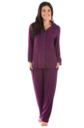 Texere Women's Button-Up Sleepwear Set (Classicomfort, Concord Grape, Medium) Beautiful Loungewear for Her WB0004-CON-M
