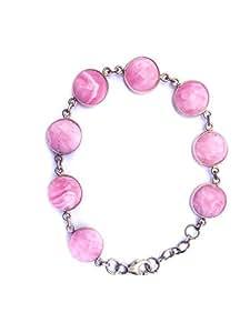Shirrin and Nishitta's Silver Gold plated Light Pink Onyx Bracelet