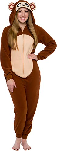 Silver Lilly Slim Fit Animal Pajamas - Adult One Piece Cosplay Monkey Costume (Brown, ()