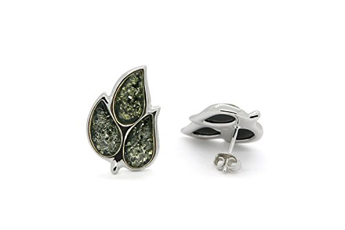 Amber Silver Green Studs - 925 Sterling Silver Leaves Stud Amber Earrings Genuine Natural Baltic Green Amber.