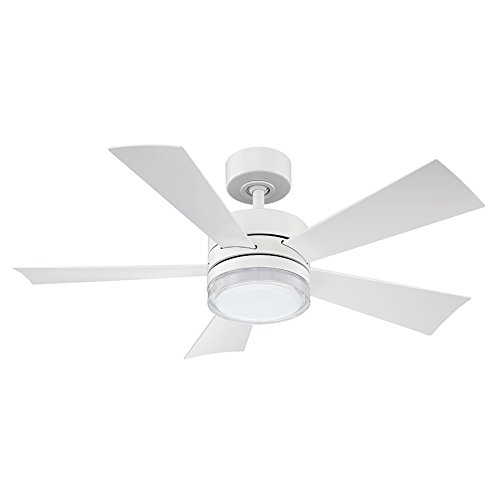 (Modern Forms FR-W1801-42L-MW Wynd 42 Inch Five Blade Indoor/Outdoor Smart Fan with Six Speed DC Motor and LED Light in Matte White Finish Works with Nest, Ecobee, Google Home and)