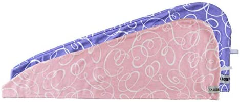 2 Pack Turbie Twist Microfiber Hair Towel Wrap : Signature Prints Pink//Purple