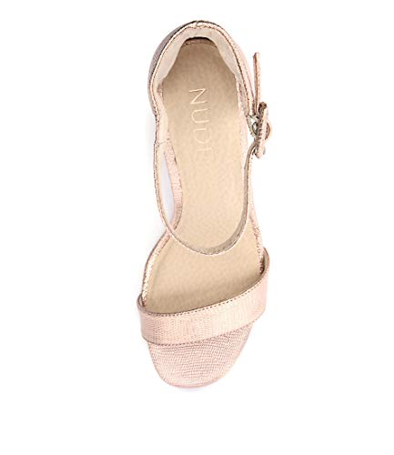 NUDE Silence Rosegold Leather Womens Heels Womens Shoes ROSE GOLD METALLIC LIZARD LEATHER