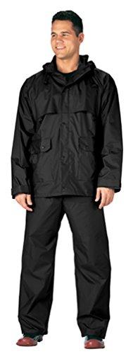 Rothco 2 Piece Microlite PVC Rainsuit, XL, Black 2 Piece Pvc Rainsuit