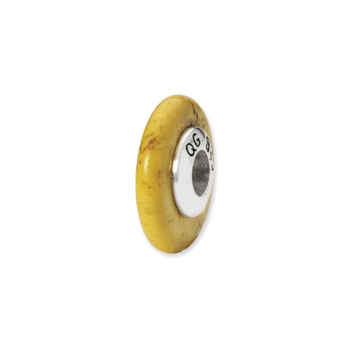 Yellow Magnesite Stone Bead & Sterling Silver Charm, 15mm by The Black Bow