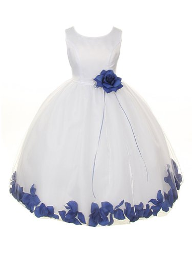 Flower Petal Skirt - Kids Dream White Satin Bodice Skirt with Petal Flower Girl Dress-White/Royal Blue-12-18months/L