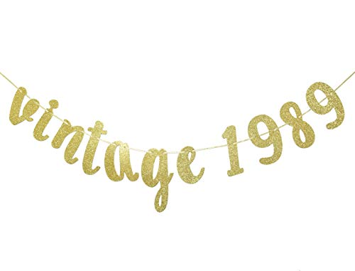 Vintage 1989 Gold Glitter Banner, 30th Birthday Banner, Thirty AF, Birthday Gift For Her, Dirty 30, Birthday Announcements Decor (Gold) -