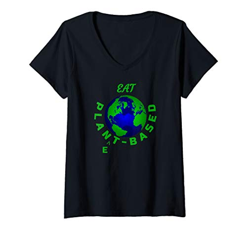 Womens Eat Planet Based Vegan Save Earth Our Beautiful Home V-Neck T-Shirt