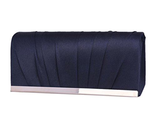 NAVYBLUE Of Evening Saturn Bag Clutch Pleated Womens Purse Satin Day Wedding Uqvw6Sxx