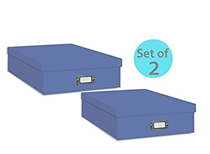 Bon Pioneer Jumbo Scrapbook Storage Box, Sky Blue (Set Of 2)