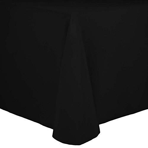 Ultimate Textile (3 Pack) Cotton-feel 54 x 96-Inch Oval Tablecloth - for Home Dining Tables, Black by Ultimate Textile