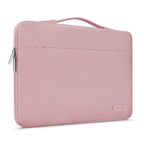 MOSISO 360 Protective Laptop Briefcase Handbag Compatible with 14-15.6 inch Acer Aspire,HP Pavilion,Dell Inspiron,Samsung Sony Asus Lenovo Toshiba Computers, Polyester Bag with Trolley Belt, Pink