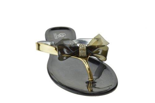 Dulce 36 Jelly Bow Flip Flop Confort Sandales Plates Noir