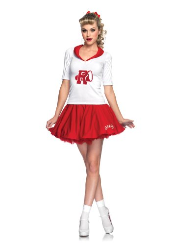 2 Piece Rydell High Cheerleader Top With Applique And Matching Skirt