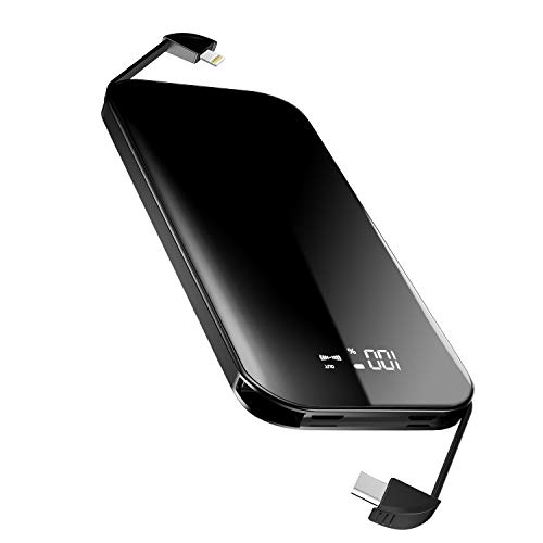 Mile Power Bank 8000mAh External Battery Portable Charger Pack with Built-in Type C and Micro USB Cable for iPhone Samsung Huawei Android Cell Phones  (Black)