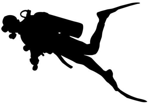 Scuba Diver Diving Silhouette Car Window Decal Sticker DVR012 (WHITE COLOR DECAL) - Die Cut Decal Bumper Sticker For Windows, Cars, Trucks, Laptops, - Diver Silhouette
