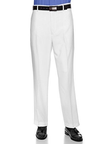 RGM Men's Flat Front Dress Pant Modern Fit - Perfect for Office, Business and Every Day! White 36W x 32L - White Slacks